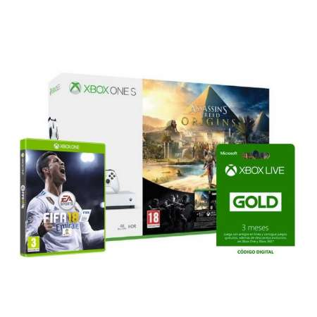 Pack Xbox One S 500Gb Blanca + Assassins Creed Origins + Xbox Live 3 Meses + Fifa 18