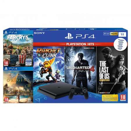 Sony PS4 Playstation 4 Slim 1Tb PLAYHITS + Farcry 5 + Assassins Creed Origins