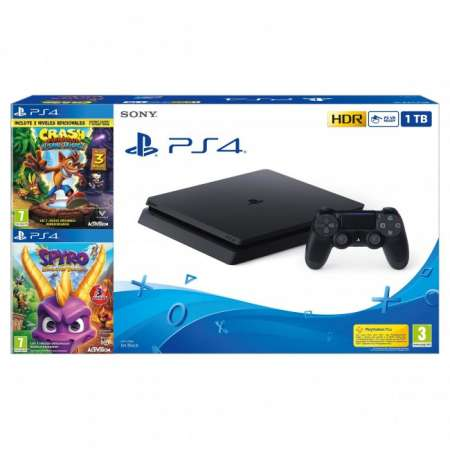 Sony PS4 Playstation 4 Slim 1Tb + Crash Bandicoot + Spyro