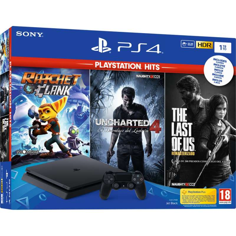 Sony PS4 Playstation 4 Slim 1Tb PLAYHITS Ratchet Clank + Uncharted 4 + The Last Of Us