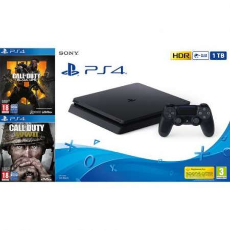 Sony PS4 Playstation 4 Slim 1Tb + Call Of Duty WWII + Call Of Duty Black Ops IIII