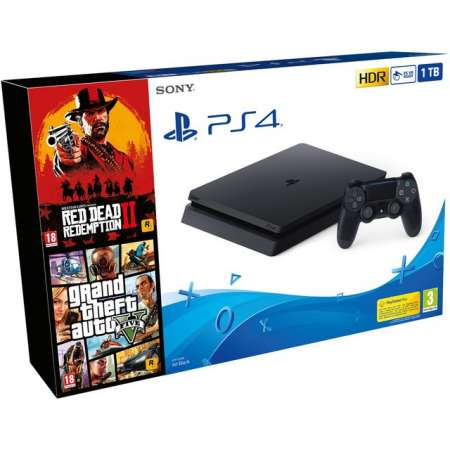 Sony PS4 PlayStation 4 Slim 1Tb + Red Dead Redemption 2 + Grand Theft Auto V